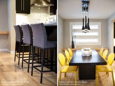 Dark Grey Wool Counterstools with Black Base.  SohoConcept Aria.  Yellow Leatherette Isabella Dining Chairs. Calgary Interior Designer