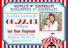 carnival birthday invitation circus tent banner stripes red turquoise blue photo photograph photo invitation diy digital file on etsy - Carnival Birthday Party Invitations