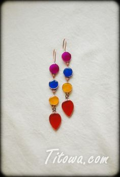 Long bright earrings. Copper and acrylic glass.