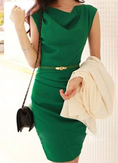 Sleeveless Cowl Neck Solid Color Belt Design Slimming Packet Buttock Dress For Women