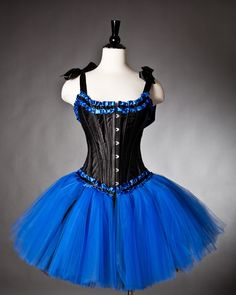 Custom size Royal Blue and Black tulle Burlesque corset dress. $235.00, via Etsy.