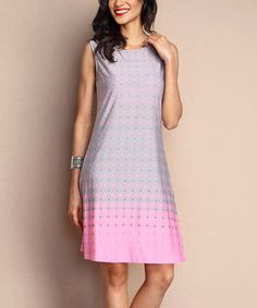 Love this Pink & Gray Dot Sleeveless Shift Dress by Reborn Collection on #zulily! #zulilyfinds