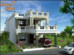 Modern Duplex (2 floors) House Design in 336m2 (8m X 42m).Click on this link (http://apnaghar.co.in/house-design-421.aspx) to view free floor plans (naksha) and other specifications for this design. You may be asked to signup and login. Website: www.apnaghar.co.in, Toll-Free No.- 1800-102-9440, Email: support@apnaghar.co.in