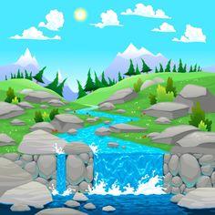 Natural landscape background design Free Vector
