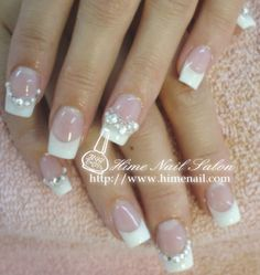 French manicure nails with rhinestone soooo doing this but only on one nail!