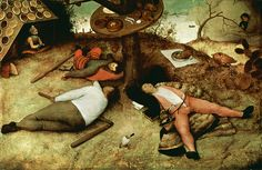 The #Land of #Cockaigne by Pieter #Bruegel the Elder, #oil and #tempera #painting 1567, Fine #Art #Poster #Prints . #renaissance #fineart #print #reproductions #posters #dutch #flemish #sloth #gluttony #lazy #laziness #food #pie #soldier #clerk #peasant #knight