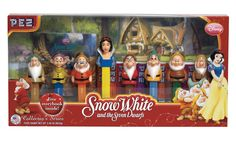 Graphish designed this iconic Snow White packaging for Pez that went on to earn Disney's packaging of the year award. #graphish #graphic #design #pez #snowwhite #dwarfs #packaging #award