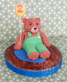 Fondant Corduroy bear cake topper by HappyCaker on Etsy, $45.00
