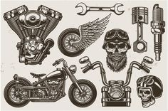Buy Set of Monochrome Motorcycle Elements by imogi on GraphicRiver. Set of monochrome motorcycle elements. Isolated on white background Motorcycle Tattoos, Motorcycle Logo, Easy Rider, Rock And Roll, Vector Design, Logo Design, Monochrome, Tattoo Flash Art, Flash Tattoos
