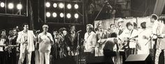 Rock Group Duran Duran musicians Lionel Richie Dione Warwick actors Jeff Bridges Chevy Chase singers Bob Dylan and Harry Belafonte performing at...