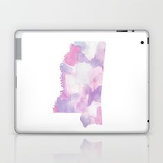 Watercolor State Map - Mississippi MS purples Laptop & iPad Skin by Rocky.rivers  | Society6