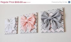 ALL ITEMS ARE MADE TO ORDER PLEASE SEE SHOP FOR CURRENT CREATION TIME!!!  Large Gray, Light Pink, and White Bows on Gray and Pink Chevron Canvases 12