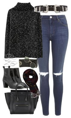 """""""Outfit with a sweater and jeans for winter"""" by ferned ❤ liked on Polyvore featuring Topshop, B-Low the Belt, Acne Studios, LC Lauren Conrad, Abercrombie & Fitch and Ray-Ban"""