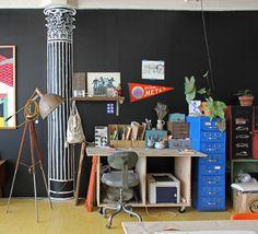 A Brooklyn, chez l'artiste française Amélie Mancini : un beau loft vintage et récup' ! Rédaction Vinciane Fiorentini-Michel pour le blog La petite fabrique de rêves.blogspot.com