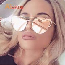 Aimade 2016 New Cat Eye Sunglasses Mulheres Marca Designer de Moda Twin-Vigas Subiu Espelho de Ouro Cateye Óculos de Sol Para feminino UV400(China (Mainland))