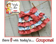 Girl's Skirt Pattern Ruffle Skirt Pattern by ViolaLeePatterns, $6.75