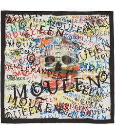 Alexander McQueen Black and White Graffiti Skull Silk Scarf   Scarves by Alexander McQueen   Liberty.co.uk