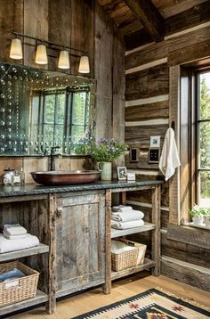 One couple builds a Montana cabin in the solitude of the mountains. Source by MtnModernLife The post One couple builds a Montana cabin in the solitude of the mountains. appeared first on Rosa Home Decor. Rustic Bathroom Designs, Rustic Bathroom Decor, Rustic Bathrooms, Bathroom Ideas, Log Cabin Bathrooms, Bathroom Faucets, Rustic Bathroom Sinks, Garage Bathroom, Barn Bathroom