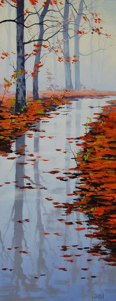 river stream fall trees leaves sunny beautiful fine art original nature oil traditional painting misty forest woods orange autumn landscape red foliage golden Gercken vibrant colorful yellow beech ...