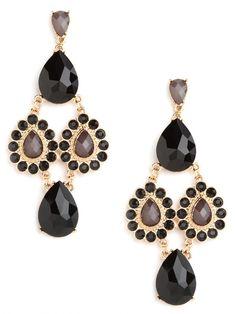 Noir Tear Cascade Earrings