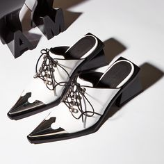 MARQUES' ALMEIDA - Lace-Up Leather Mules   STYLEBOP Leather Mules, White Style, Oxford Shoes, Lace Up, Shopping, Women, Fashion, Zapatos, Oxford Shoe