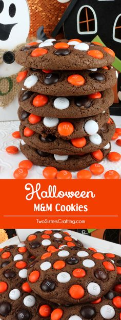 Halloween M&M Cookies - super delicious, easy to make and chock full of M&M's.  These cookies are a yummy Halloween cookie that the entire family will love. This is a Halloween dessert that will wow the guests at your Halloween party.  Pin this delicious Halloween treat for later and follow us for more great Halloween Food Ideas. via @2SistersCraft Halloween Goodies, Halloween Deserts Recipes, Treats For Halloween, Easy Halloween Desserts, Halloween Diy, Halloween Baking, Holiday Desserts, Vintage Halloween, Holiday Baking