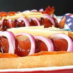 "Killer Bacon-Cheese Dogs for a Labor Day. ""Like"" if your taste buds are already celebrating at the sight of them."