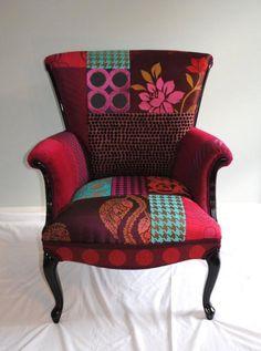 fauteuil patchwork, chaise baroque déco patchwork