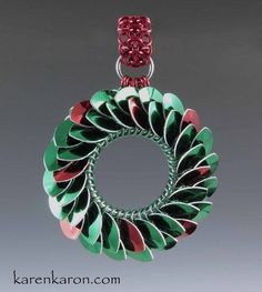Scale maille, Chainmaille wreath ornament by Karen Karon
