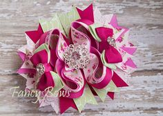 Vintage rose hair bow https://www.facebook.com/TheFancyBows?ref_type=bookmark