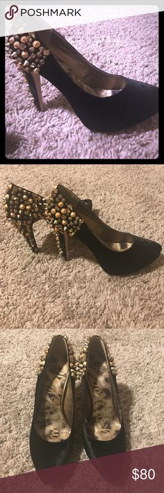 Sexy gold studded black pumps Re posh! Too small! But freaking amazing shoes. The spike are awesome and the velvet look is beautiful Sam Edelman Shoes Heels