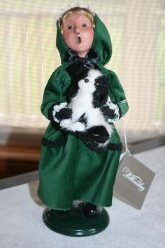 BYERS CHOICE CAROLER GIRL HOLDING DOG VELVET DRESS - WILLIAMSBURG SERIES