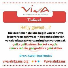 Die deelteken Afrikaans Language, Afrikaanse Quotes, Homeschool, Classroom, Education, Words, Homework, School Stuff, Class Room