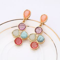 Colorful Dangle Earrings With Colorful Artificial Gemstones And Alloy Back Details  - New In