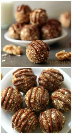 These raw cinnamon raisin cookie dough balls are sweetened with dates and raisins and are completely guilt free! Just process in a food processor and roll into balls. #glutenfree, #vegan, #dairyfree, #wholegrain
