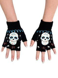 """Sugar Skull Board"" Fingerless Gloves by Too Fast (Black)"