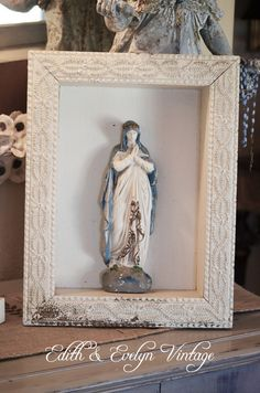 Antique French Virgin Mary Shrine Statue in Wood by edithandevelyn on Etsy
