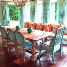 Turquoise and Coral breakfast room! Happy colors!