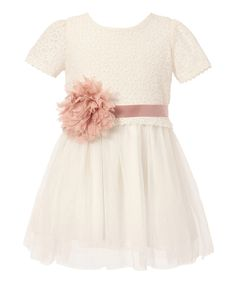White Lace Tulle Sash Dress - Toddler & Girls by Richie House #zulily #zulilyfinds