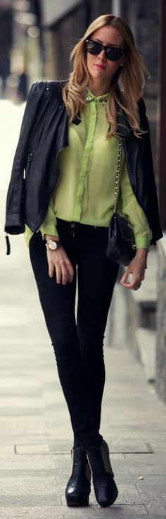 Goldie London Pistachio Green Embellished Collar Blouse by Style Lover   ~LadyLuxury~