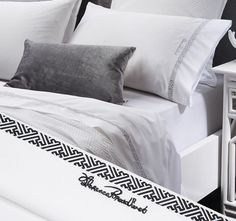 Embroidered FLORENCE BROADHURST  Taking the iconic Chinese Key pattern from the Florence bed linen collection, embroidered on a luxurious 400 thread count cotton sateen sheet set header will frame your bed with a touch of elegance.  Features: Cotton sateen 400 thread count Embroidered Chinese key black pattern and signature on flat sheet and pillowcase Deep 50cm walls - #sheets Flat Sheets, Bed Sheets, Florence Broadhurst, Linen Bedding, Bed Linen, Black Pattern, Sheet Sets, Bed Pillows