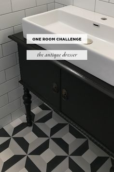 DIY - How to turn an antique dresser into a bathroom vanity. All the steps you need including paint and how to protect your antique dresser from water converting to sink.