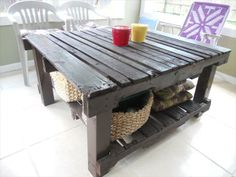 Pallet Patio Table -- This would be great to put the kids' outside toys under. I have a baskets of baseball stuff; one with water toys; one with outside games; etc.