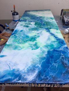 Encaustic Schellac Kunst — Agua Serena by N.Winkel (Pour Painting)