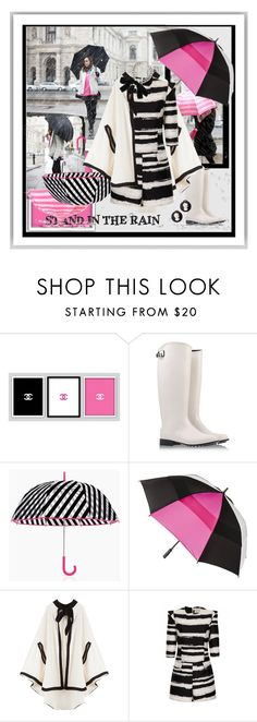 """""""Stand In The Rain"""" by halebugg ❤ liked on Polyvore featuring Chanel, Salvatore Ferragamo, Kate Spade, Totes, Lisa Marie Fernandez, Alexander McQueen, Les Bijoux De Sophie, rain and blackwhitepink"""