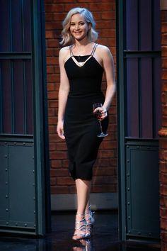 Jennifer Lawrence in a Mugler Spring 2016 dress and Aquazzura heels - December 15, 2015