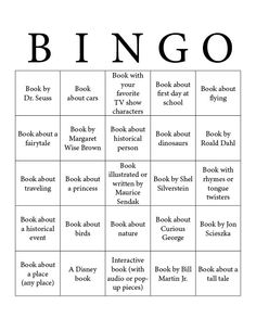 Reading Bingo for kids. This could be revamped to do Genre bingo with older kids