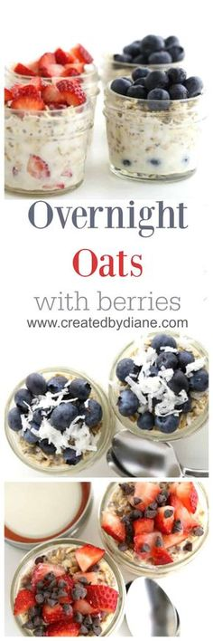 overnight oats with berries a perfect fast breakfast for school days, late sleepers, night owls, breakfast www.createdbydiane.com