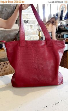 Leather tote bag in red , Oversized tote in ruby red , Red leather bag , Large tote bag , Clearance sale by BarLeather on Etsy
