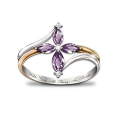 Swarovski Diamond Amethyst, silver with gold and white gold plate